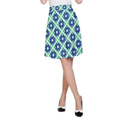 A line Skirt Blue Green Crisscross Pattern design #cowcow #fashion #style