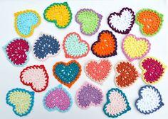 Cute Crocheted hearts applique mandala hearts por VessyMidget