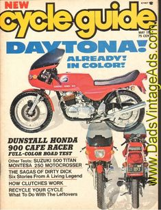 1974 May Cycle Guide Motorcycle Magazine Back-Issue Vintage Honda Motorcycles, Vintage Cafe Racer, Living Legends, England, Competition, Cafe Racers, Trials, Contents