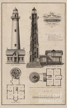 1867 Drawing of the Saint Simon Lighthouse in Georgia.