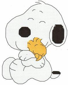 Baby Snoopy Hugging Woodstock Cross Stitch Pattern by gotttwo Counted Cross Stitch Patterns, Cross Stitch Designs, Snoopy Pictures, Snoopy Images, Baby Snoopy, Patch Aplique, Snoopy And Woodstock, Canvas Designs, Crochet Chart