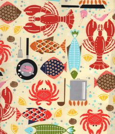 Seafood Feast Tablecloth Apron Fabric Fish Lobsters Crabs Ocean Catch on Ivory…print and pattern Textile Patterns, Print Patterns, Fabric Fish, Novelty Fabric, Fish Design, Am Meer, Fried Fish, Fish Art, Illustrations