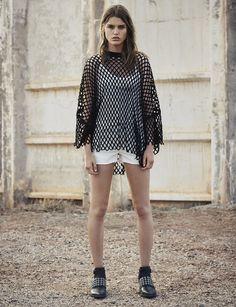 AllSaints Women's July Lookbook Look 6: Tied Top, Roma Mesh Tee, Sasha Boys Shorts, Yannis Shoe