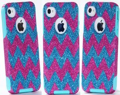 iPhone 4 Case - iPhone 4 Otterbox Cover - Custom Chevron Pattern Case Glitter Raspberry/Peacock for iPhone 4S - iPhone 4S Cover on Etsy, $49.99 ((((I WANT))))