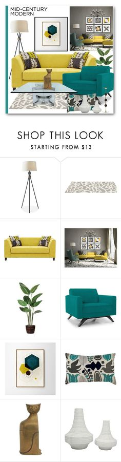 """""""Mid-Century Modern Interior Design"""" by brendariley-1 ❤ liked on Polyvore featuring interior, interiors, interior design, home, home decor, interior decorating, Adesso, Somerset Bay, Joybird and WALL"""
