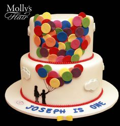 Special Occasion cake - Up & away Balloons cake by Molly's Flair