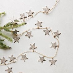 Shambray: West Elm Knock Off Glitter Star Garland Christmas And New Year, All Things Christmas, Christmas Home, Christmas Holidays, Christmas Crafts, Christmas Decorations, Christmas Ornaments, Christmas Ideas, Christmas Feeling