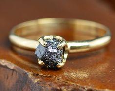 Black & White Rough Diamond Rose Gold by PointNoPointStudio