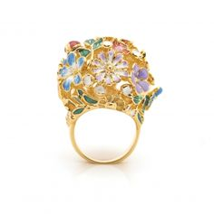 Floral Orb Ring - Size Small Only Hair Jewelry, Jewelry Bracelets, Poison Ring, Body Jewellery, Gold Rings, Plating, Jewelry Accessories, Carving, Brooch