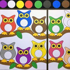 owl color match file folder game for preschool and kindergarten