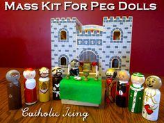 Mass kit with decoupage saint peg dolls!