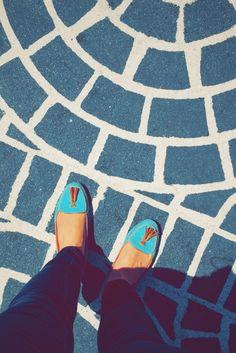 Street feet.   Bit by Bon   Crosswalk. Loafers. Teal. Boston.