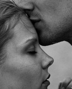 Romance kiss on forehead