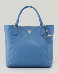 Daino Snap-Top Tote Bag, Blue by Prada at Neiman Marcus.  I REALLY need this! Blue $1495