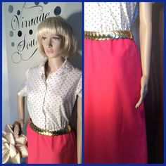 A personal favorite from my Etsy shop https://www.etsy.com/listing/512445797/vintage-blue-poka-dot-and-pink-dress