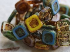 CARVED SQUARE MIX .. New 10 Premium Picasso Czech Glass Square Beads 12mm (6319-10) by ArteBellaSurplus on Etsy