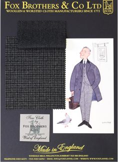 8db2ce3df Fox Brothers Woolens are sold at Bookster. Covert cloth pictured with a  cartoon showing a pairing.