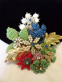 STANLEY HAGLER N.Y.C. Vintage BLUE Bird Flower Rhinestone Glass Bead Brooch Pin #StanleyHagler