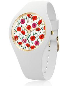 Ice-Watch - ICE flower White poppy - Women's wristwatch with silicon strap - 016665 (Medium) Ice Watch, Mvmt Watches, Sport Watches, Bracelet Silicone, Latest Watches, Mode Online, Watch Sale, Stainless Steel Case, Quartz Watch