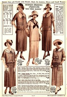 Catalog page showing the latest fashions c.1924