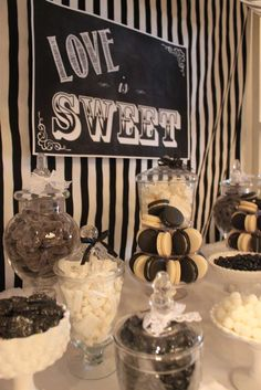 Black and white wedding party candy buffet! See more party planning ideas at CatchMyParty.com!