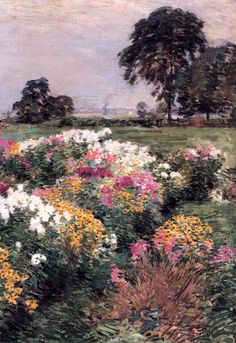 """❀ Blooming Brushwork ❀ - garden and still life flower paintings - """"Purple, White and Gold,"""" Willard Leroy Metcalf, 1903"""