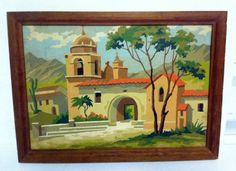Vintage Paint By Numbers Calfornia Mission Framed & Nice! #paintbynumbers