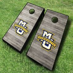 These NCAA Marquette Golden Eagles cornhole boards; featuring a distressed wood design, are great for displaying collegiate pride at tailgates,...