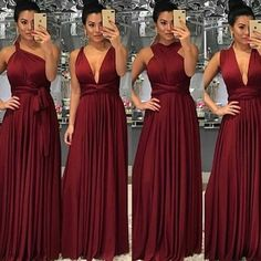 Burgundy bridesmaid dresses long chiffon a line convertible elegant cheap wedding party dresses vest Infinity Dress Bridesmaid, Burgundy Bridesmaid Dresses Long, Bridesmaid Dresses 2018, Wedding Party Dresses, Wedding Bridesmaids, Formal Wedding, Prom Dresses, Wedding Ideas, Quinceanera Dresses