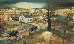 """""""Sleepy Hollow,"""" by Will Moses, on view at Sunnyside, Washington Irving's former home. Credit Lithograph by Will Moses, via Historic Hudson Valley"""
