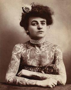 Tattood Lady Vintage Circus Image