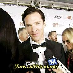 Benedict Cumberbatch at TIFF---this never gets old. gif! I love his smile after he says hello.  Love Sherlock BBC? Check out our Sortable Sherlock BBC Fanfiction Rec List - https://fanfictionrecommendations.com/sherlock/