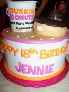Amazing homemade DD Birthday cake by DD fan Kathleen! Dunkin Donuts Cake, Diy Donuts, Cupcake Cakes, Cupcake Ideas, Cupcakes, Mister Donuts, Donut Decorations, Donut Party, Pie Dessert