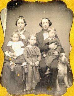 1 4 Daguerreotype of Large Family Their Big Dog Full Case Original Seals   eBay