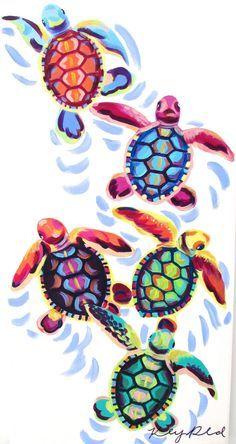 Sea Turtle Hatchlings Painting (12×24) by Kelsey Rowland- original animal art sea turtle hatching beach house pink blue green purple orange