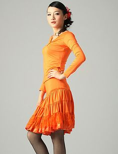 Dancewear Fashion Viscose Satin With Lace Latin Dance Skirt for Ladies(More Colors) - USD $ 39.99