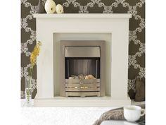 Adam Lomond Fireplace Suite in Stone Effect with Helios Electric Fire in Brushed Steel, 39 Inch Fireplace Bookcase, Fireplace Ideas, Fireplace Suites, Glow Effect, White Pebbles, Electric Fires, Modern Design, Colours, Steel