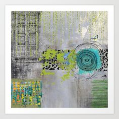Teal & Lime Round Abstract Art Collage Art Print by Sheree Joy Burlington - $18.00