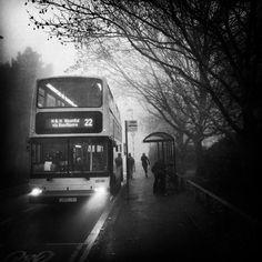 A rainy, foggy day in Norwich, England