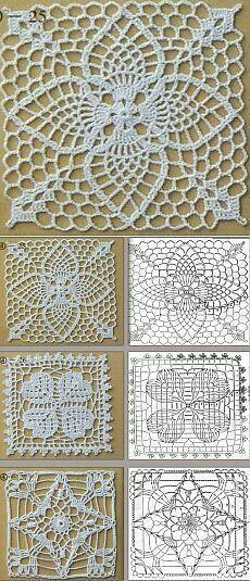 Crochet Headband Free, Crochet Cowl Free Pattern, Crochet Motif Patterns, Granny Square Crochet Pattern, Crochet Squares, Crochet Chart, Thread Crochet, Crochet Granny, Crochet Table Runner Pattern