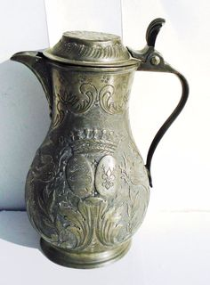 Antique Pitcher, Stein, Pewter Flagon, Pewter Jug, Rare Old Water Pitcher #Baroque