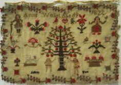 SMALL EARLY 19TH CENTURY ADAM & EVE SAMPLER BY ANNE WALLET AGED 9 - 1822