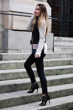 knitted sweater with vest and skinny pants