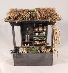 Dollhouse Miniature Halloween Witch Wizard Market Stand Cabinet OOAK Artist Made