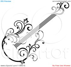 Clipart Black And White Floral Guitar 2 - Royalty Free Vector Illustration by Seamartini Graphics