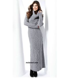 Длинное вязаное платье с аранами http://mslanavi.com/2016/02/dlinnoe-vyazanoe-plate-s-aranami/
