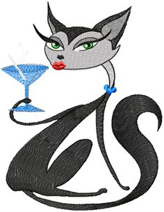 Glamour Kitty relax free machine embroidery design