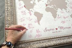 A wedding guest book world map art print keepsake| See more here: Unique Wedding Guest Book Ideas {Trendy Tuesday} | Confetti Daydreams ♥ ♥ ♥ LIKE US ON FB: www.facebook.com/confettidaydreams ♥ ♥ ♥ #Wedding #WeddingTrends #GuestBook