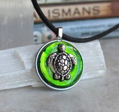 green turtle necklace, sea turtle, turtle jewelry, nature necklace, mens jewelry, mens necklace, unique gift, beach jewelry by NatureWithYou on Etsy