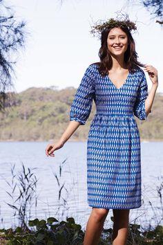 that bird label POLLY Waist Tie Dress Zig Zag Ikat - Womens Knee Length Dresses - Birdsnest Online Shop